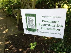 Piedmont Beautification Foundation sign.